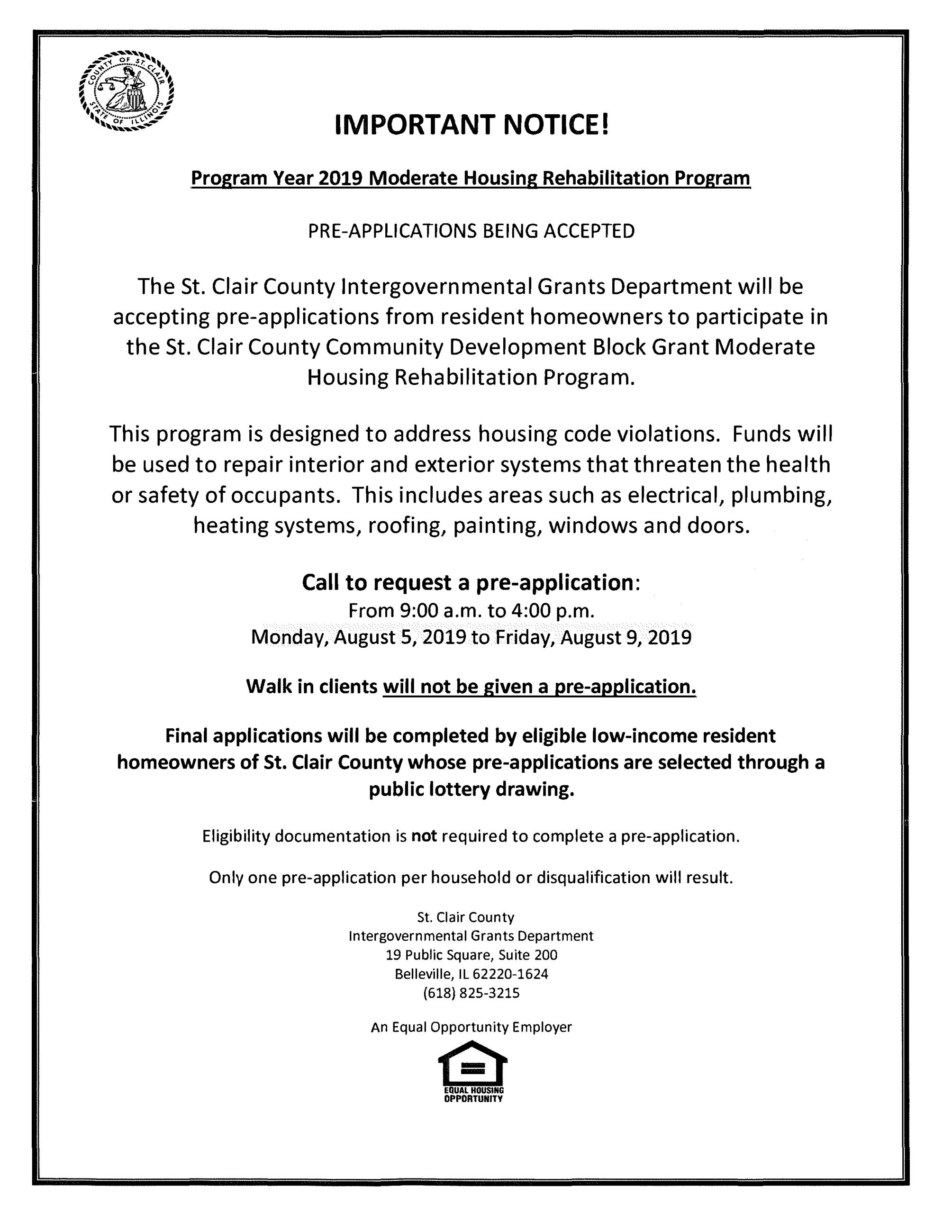 Program Year 2019 Moderate Housing Rehabilitation Program